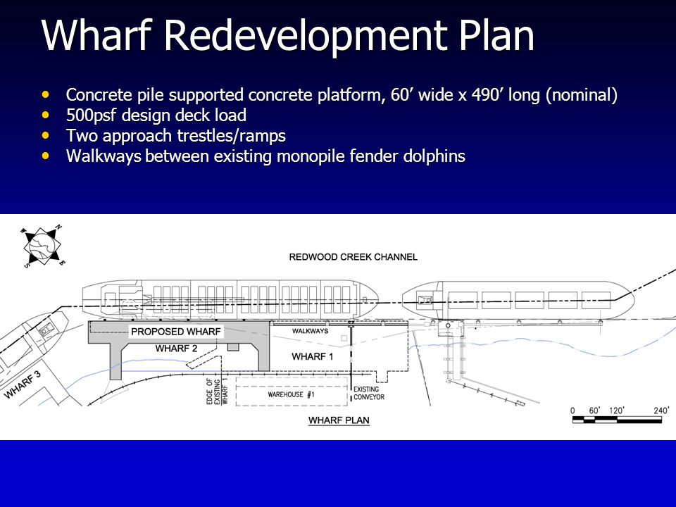 Wharf Redevelopment Plan Concrete pile supported concrete platform, 60' wide x 490' long (nominal) Concrete pile supported concrete platform, 60' wide x 490' long (nominal) 500psf design deck load 500psf design deck load Two approach trestles/ramps Two approach trestles/ramps Walkways between existing monopile fender dolphins Walkways between existing monopile fender dolphins