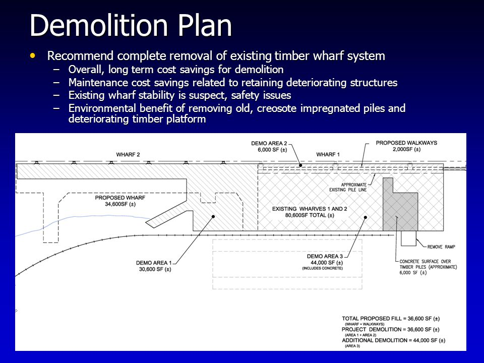 Demolition Plan Recommend complete removal of existing timber wharf system Recommend complete removal of existing timber wharf system –Overall, long term cost savings for demolition –Maintenance cost savings related to retaining deteriorating structures –Existing wharf stability is suspect, safety issues –Environmental benefit of removing old, creosote impregnated piles and deteriorating timber platform