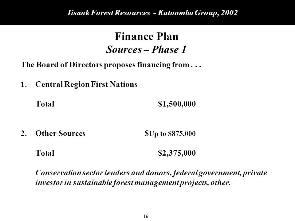 16 Iisaak Forest Resources - Katoomba Group, 2002 Finance Plan Sources – Phase 1 The Board of Directors proposes financing from...