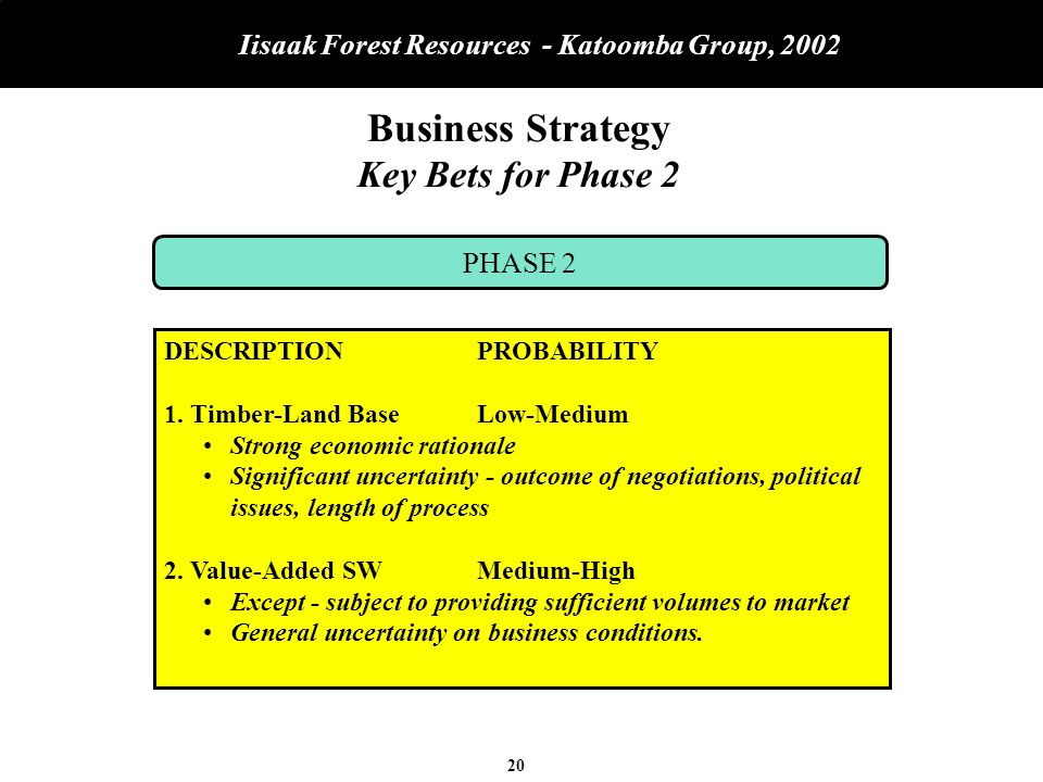 20 Iisaak Forest Resources - Katoomba Group, 2002 Business Strategy Key Bets for Phase 2 PHASE 2 DESCRIPTIONPROBABILITY 1.Timber-Land BaseLow-Medium Strong economic rationale Significant uncertainty - outcome of negotiations, political issues, length of process 2.Value-Added SWMedium-High Except - subject to providing sufficient volumes to market General uncertainty on business conditions.