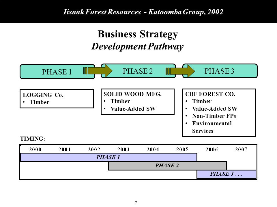 8 Iisaak Forest Resources - Katoomba Group, 2002 Business Strategy Development Pathway PHASE 1PHASE 2 PHASE 3 Establish Core Commercial Timber Operation Certification Stakeholder Relationships Land Base Alliance Manufacturing Alliance Develop Marketing and Channels Forest Policy Growth of Non-Timber Business Green Investment Strategy Community Economic Development LOGGING Co.