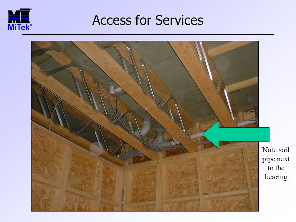 Access for Services Note soil pipe next to the bearing