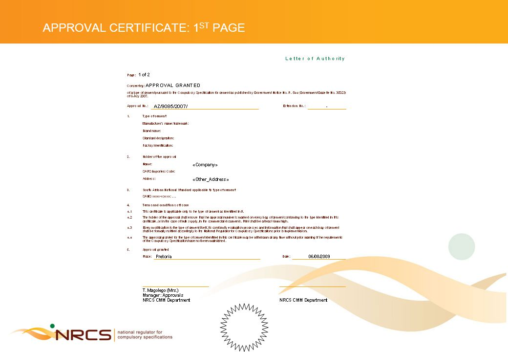 APPROVAL CERTIFICATE: 1 ST PAGE