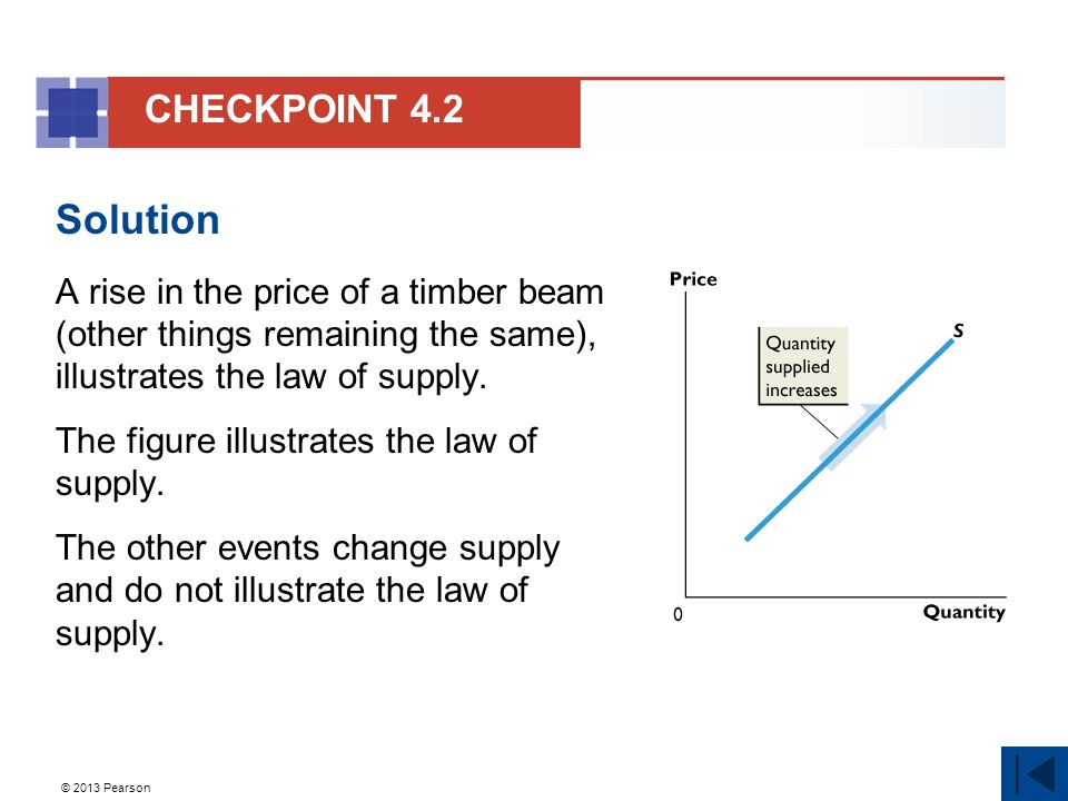 © 2013 Pearson Solution A rise in the price of a timber beam (other things remaining the same), illustrates the law of supply.