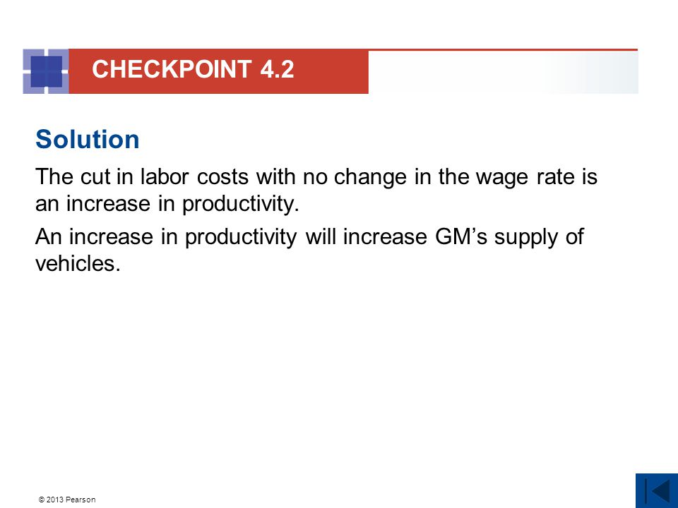 © 2013 Pearson Solution The cut in labor costs with no change in the wage rate is an increase in productivity.