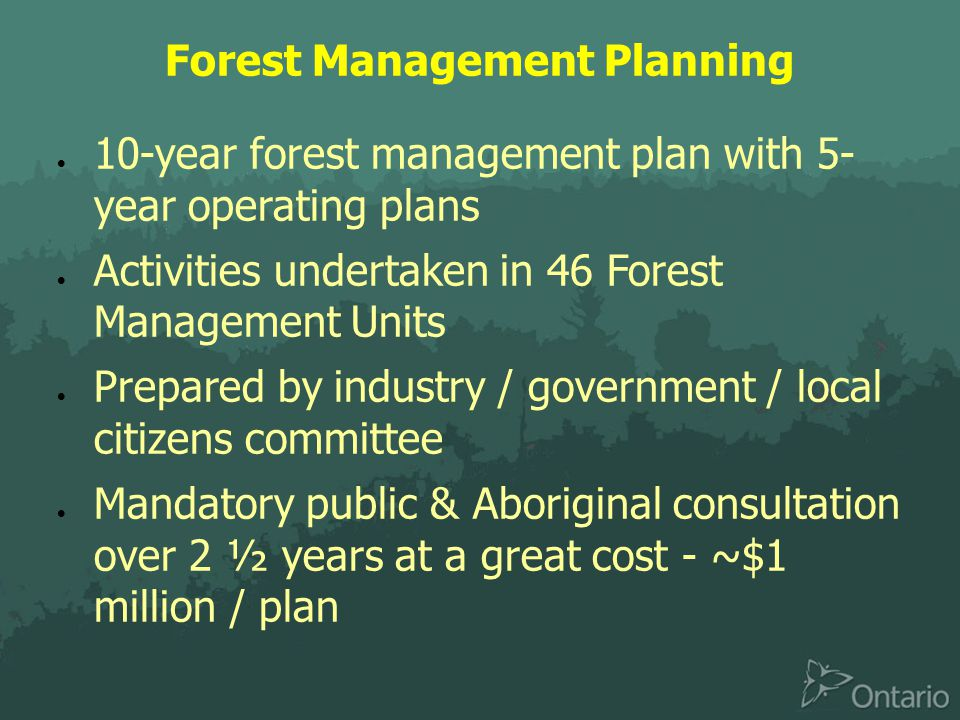 Forest Management Planning  10-year forest management plan with 5- year operating plans  Activities undertaken in 46 Forest Management Units  Prepared by industry / government / local citizens committee  Mandatory public & Aboriginal consultation over 2 ½ years at a great cost - ~$1 million / plan