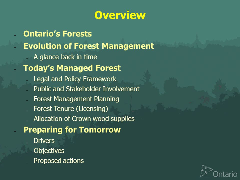 Overview  Ontario's Forests  Evolution of Forest Management  A glance back in time  Today's Managed Forest  Legal and Policy Framework  Public and Stakeholder Involvement  Forest Management Planning  Forest Tenure (Licensing)  Allocation of Crown wood supplies  Preparing for Tomorrow  Drivers  Objectives  Proposed actions