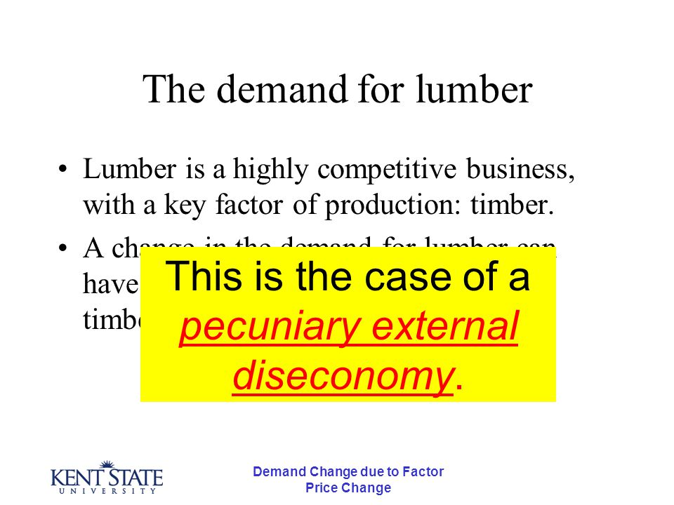 Demand Change due to Factor Price Change The demand for lumber Lumber is a highly competitive business, with a key factor of production: timber. A cha