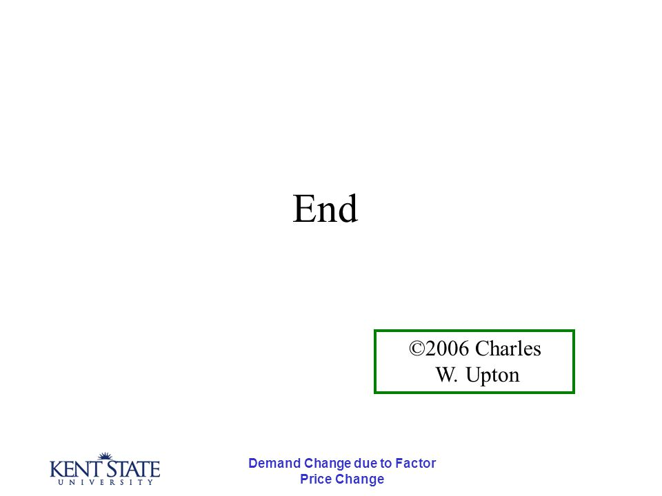 Demand Change due to Factor Price Change End ©2006 Charles W. Upton