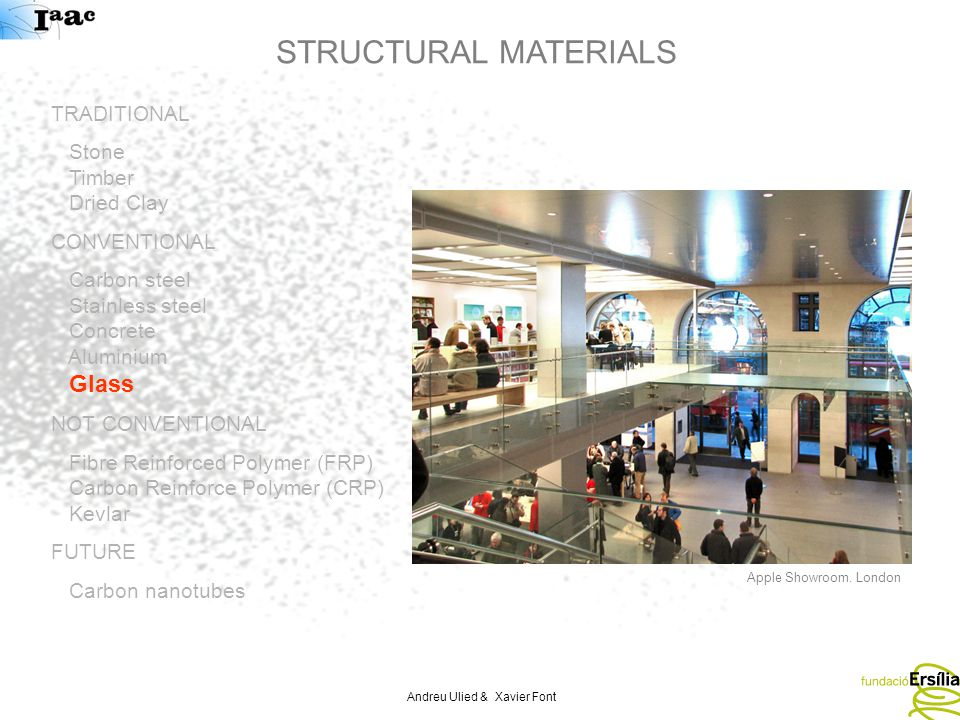 Andreu Ulied & Xavier Font STRUCTURAL MATERIALS TRADITIONAL Stone Timber Dried Clay CONVENTIONAL Carbon steel Stainless steel Concrete Aluminium Glass NOT CONVENTIONAL Fibre Reinforced Polymer (FRP) Carbon Reinforce Polymer (CRP) Kevlar FUTURE Carbon nanotubes Apple Showroom.