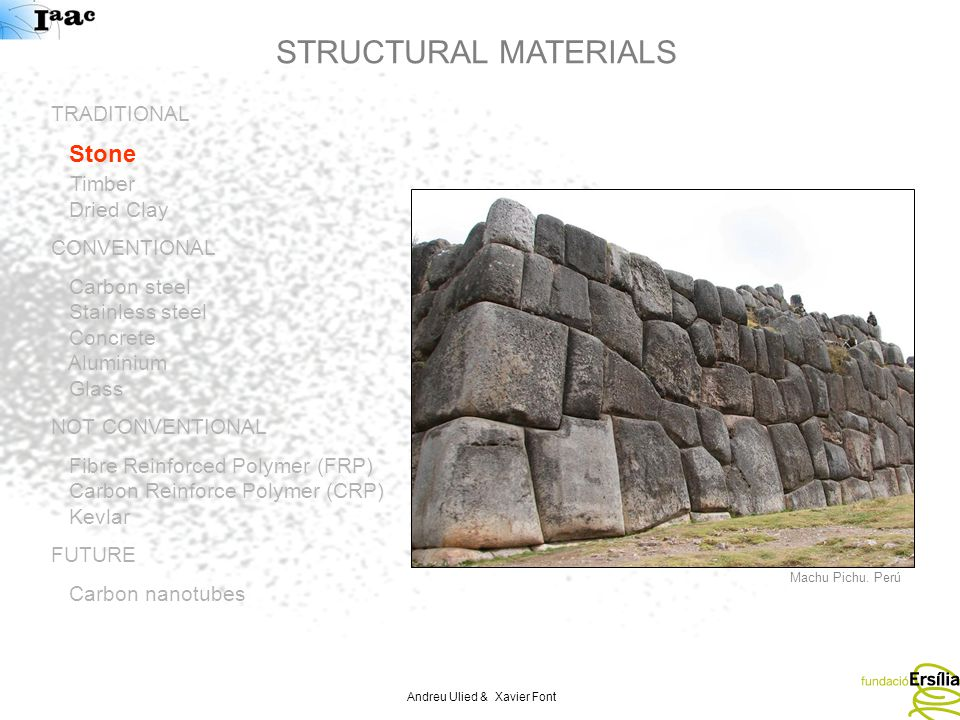 Andreu Ulied & Xavier Font STRUCTURAL MATERIALS TRADITIONAL Stone Timber Dried Clay CONVENTIONAL Carbon steel Stainless steel Concrete Aluminium Glass NOT CONVENTIONAL Fibre Reinforced Polymer (FRP) Carbon Reinforce Polymer (CRP) Kevlar FUTURE Carbon nanotubes Machu Pichu.