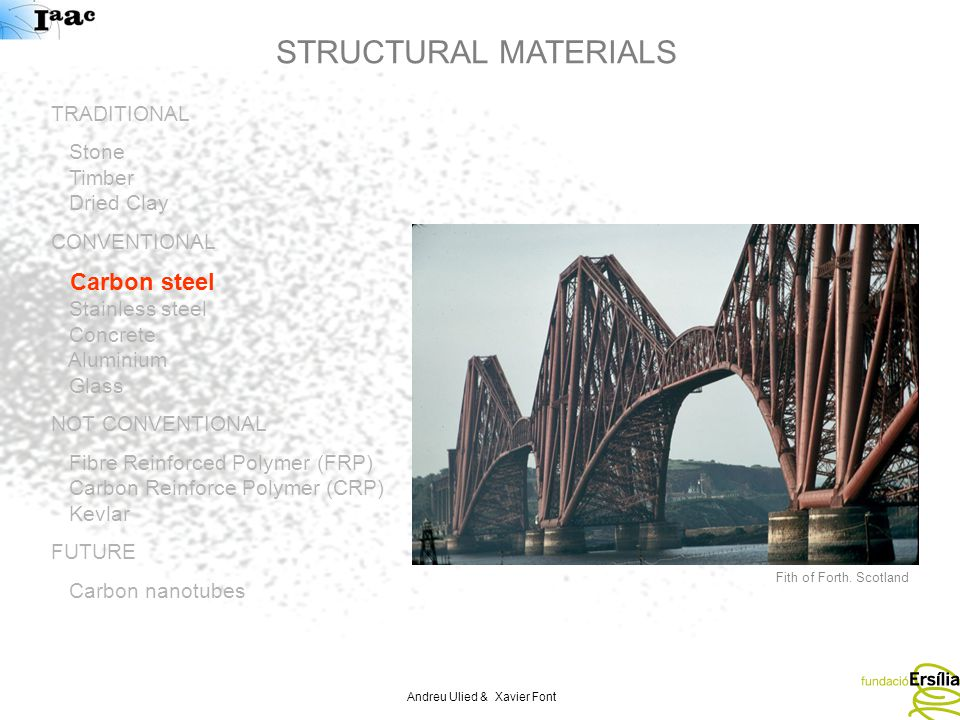 Andreu Ulied & Xavier Font STRUCTURAL MATERIALS TRADITIONAL Stone Timber Dried Clay CONVENTIONAL Carbon steel Stainless steel Concrete Aluminium Glass NOT CONVENTIONAL Fibre Reinforced Polymer (FRP) Carbon Reinforce Polymer (CRP) Kevlar FUTURE Carbon nanotubes Fith of Forth.