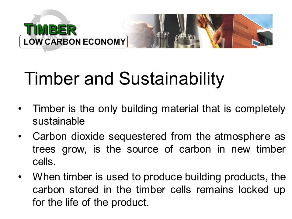 & the Timber is the only building material that is completely sustainable Carbon dioxide sequestered from the atmosphere as trees grow, is the source of carbon in new timber cells.