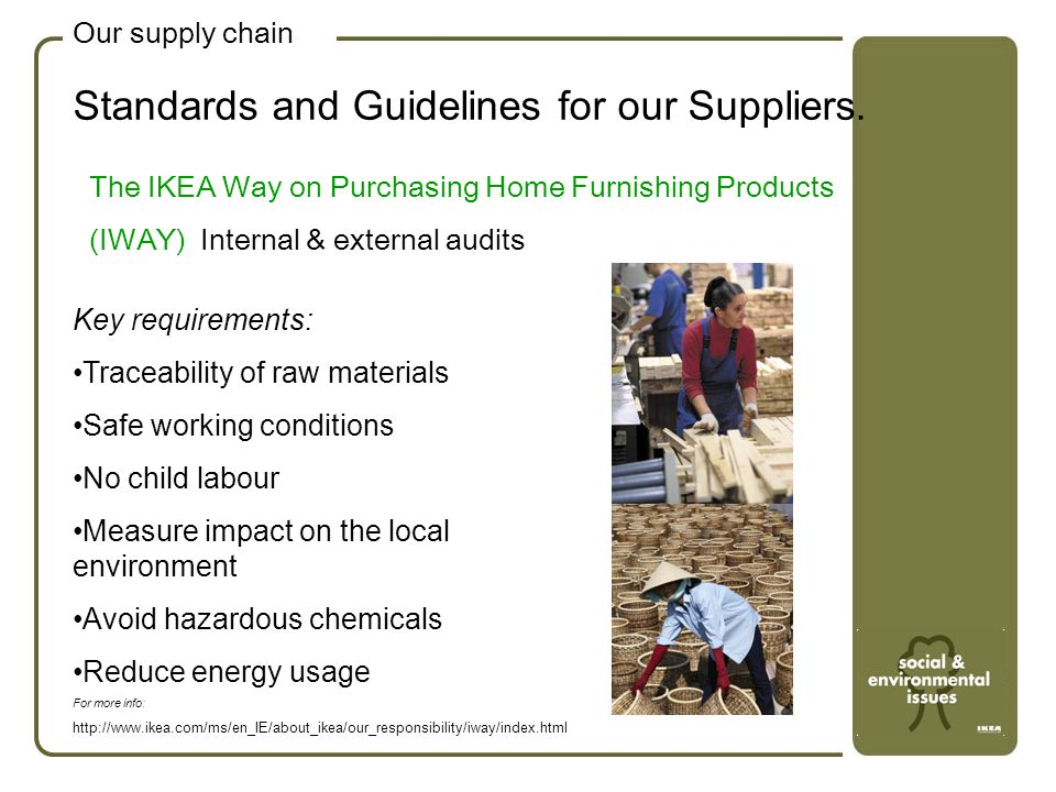 Standards and Guidelines for our Suppliers. Our supply chain The IKEA Way on Purchasing Home Furnishing Products (IWAY) Internal & external audits Key