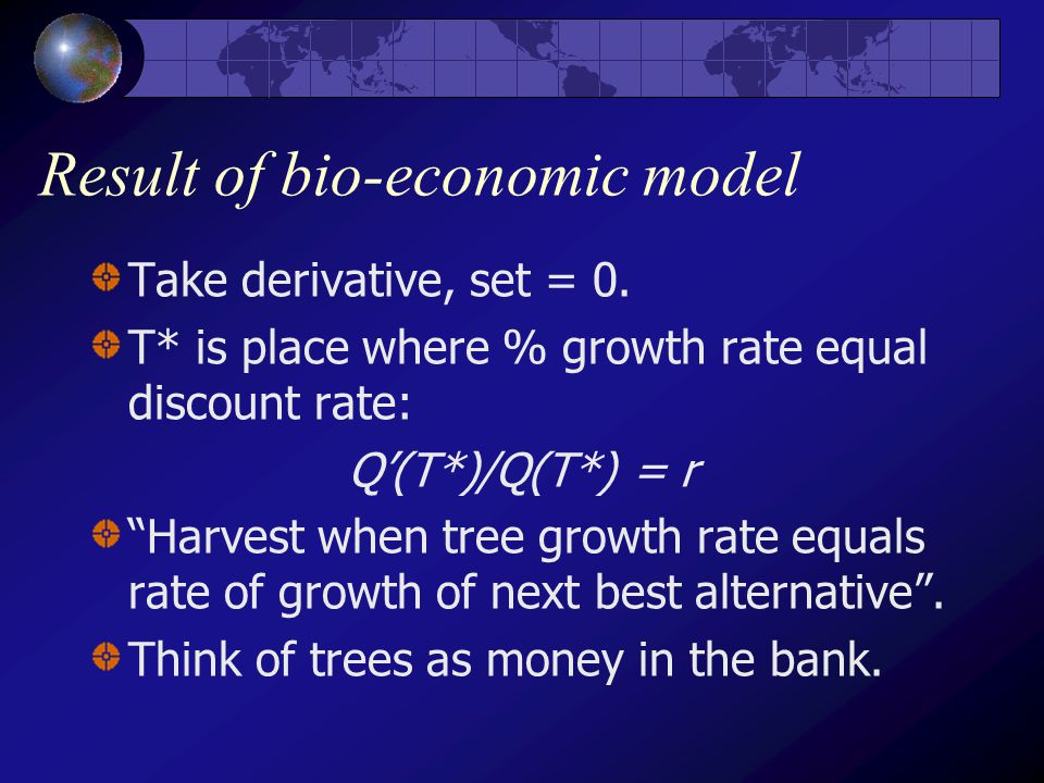Result of bio-economic model Take derivative, set = 0.