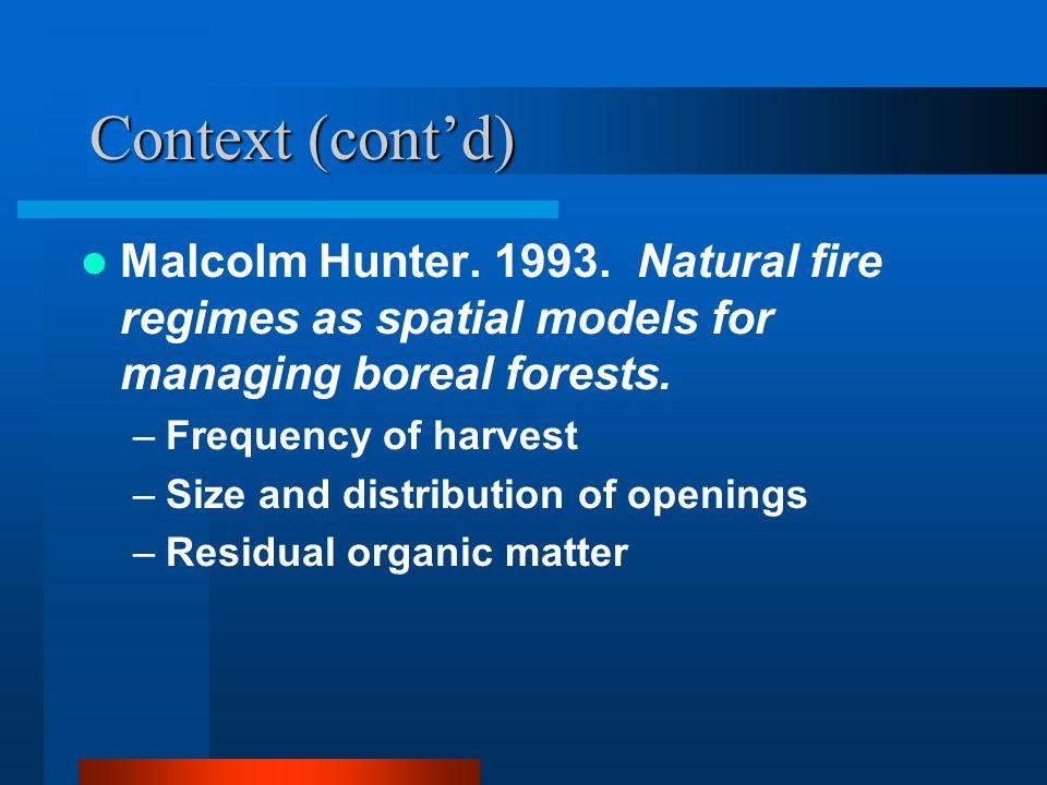 Context (cont'd) Malcolm Hunter. 1993.