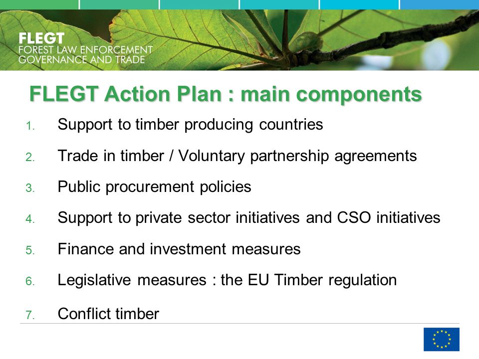 FLEGT Action Plan : main components 1. Support to timber producing countries 2.
