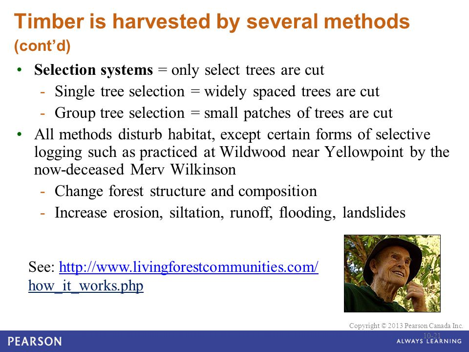 © 2010 Pearson Education Canada Copyright © 2013 Pearson Canada Inc. Timber is harvested by several methods (cont'd) Selection systems = only select t