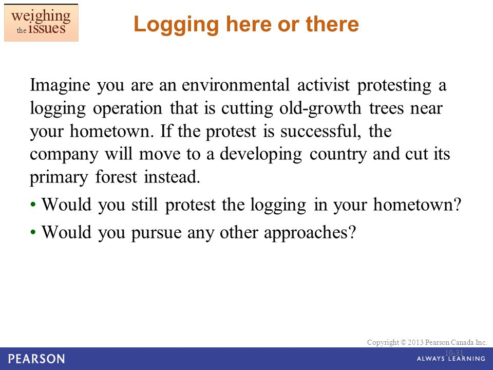 © 2010 Pearson Education Canada Copyright © 2013 Pearson Canada Inc. Logging here or there Imagine you are an environmental activist protesting a logg
