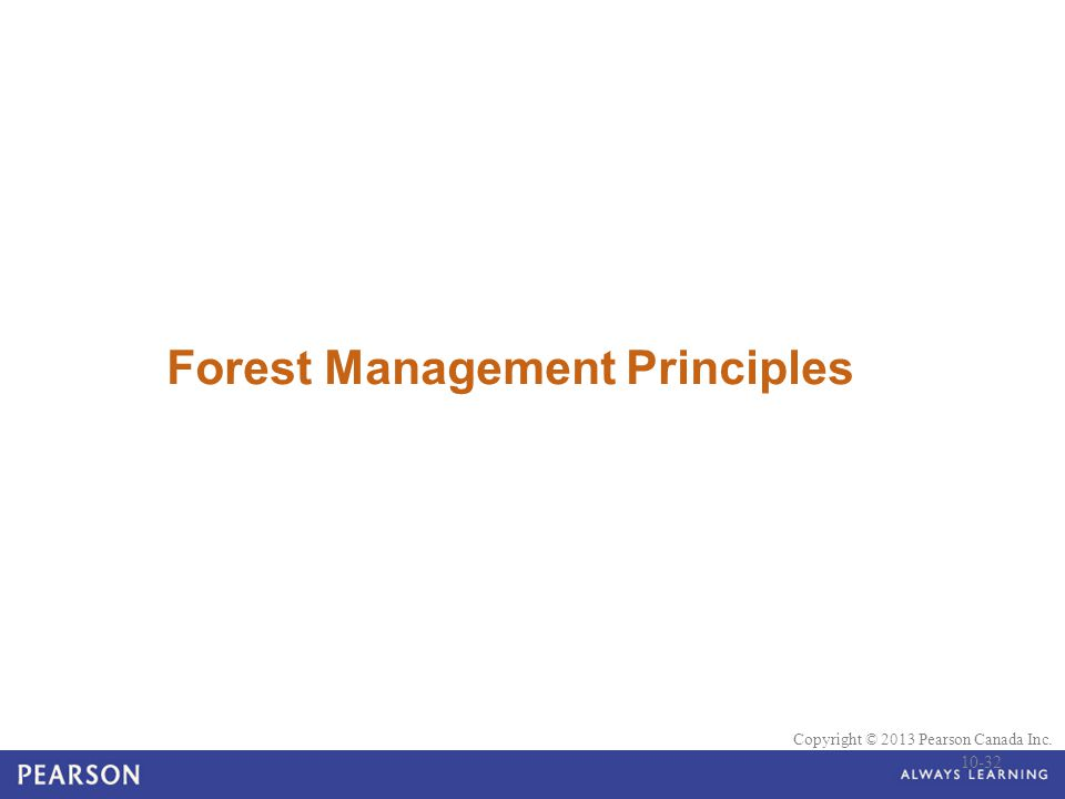© 2010 Pearson Education Canada Copyright © 2013 Pearson Canada Inc. Forest Management Principles 10-32