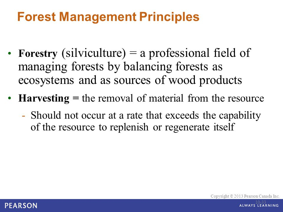 © 2010 Pearson Education Canada Copyright © 2013 Pearson Canada Inc. Forest Management Principles Forestry (silviculture) = a professional field of ma