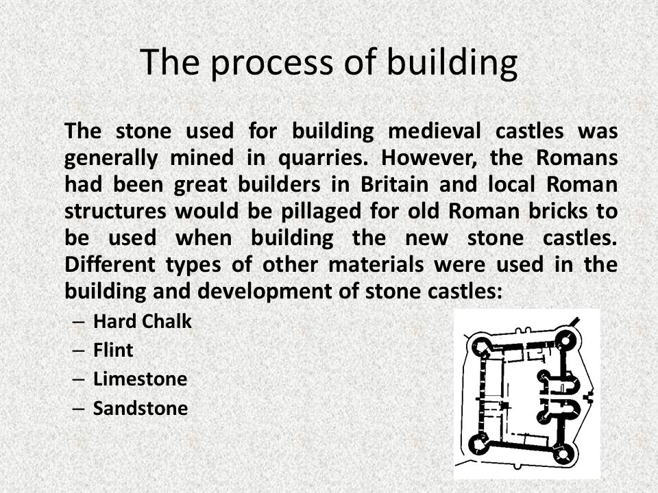 The process of building The stone used for building medieval castles was generally mined in quarries.