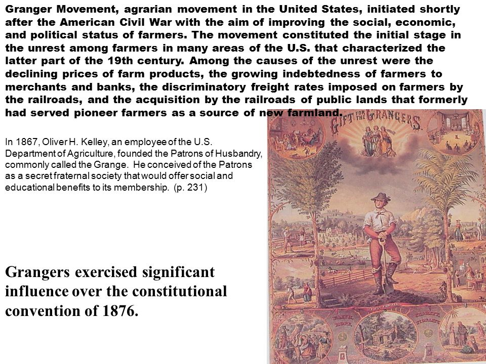 Granger Movement, agrarian movement in the United States, initiated shortly after the American Civil War with the aim of improving the social, economic, and political status of farmers.