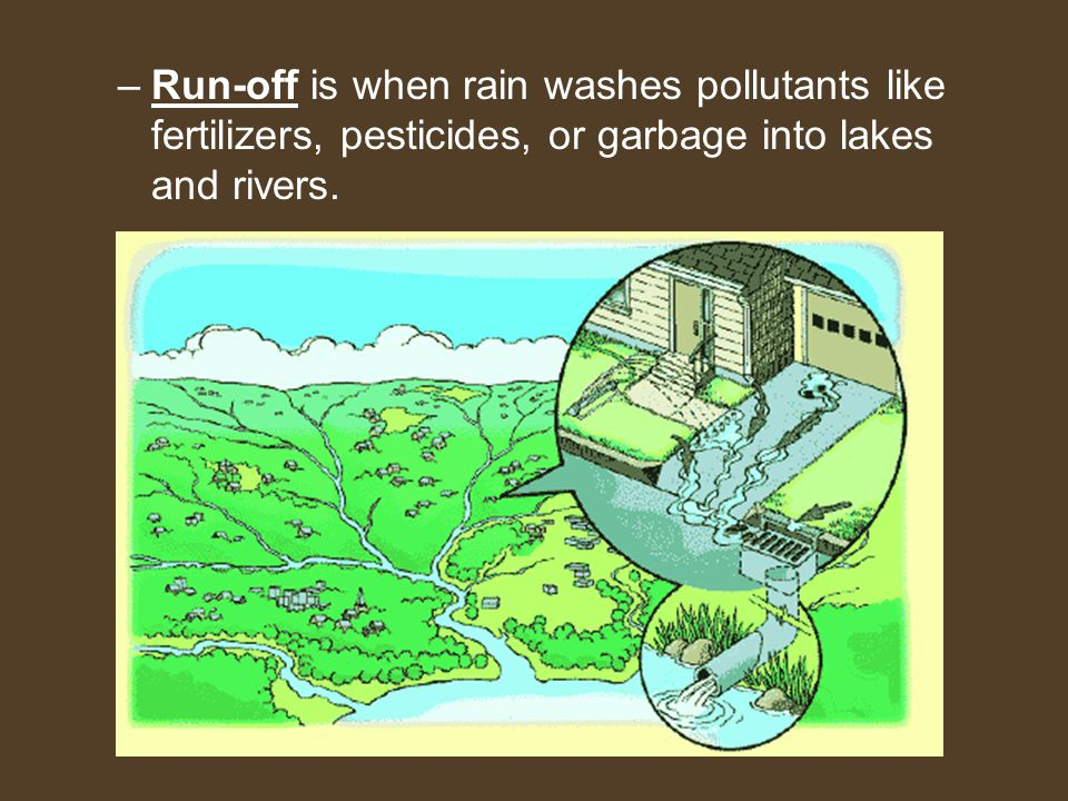 –Run-off is when rain washes pollutants like fertilizers, pesticides, or garbage into lakes and rivers.