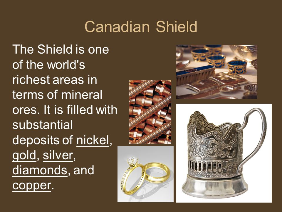 Canadian Shield The Shield is one of the world's richest areas in terms of mineral ores. It is filled with substantial deposits of nickel, gold, silve