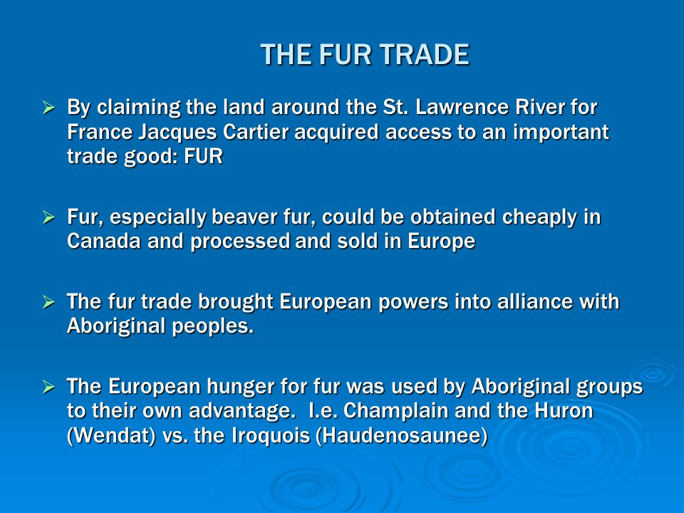 THE FUR TRADE  By claiming the land around the St. Lawrence River for France Jacques Cartier acquired access to an important trade good: FUR  Fur, e