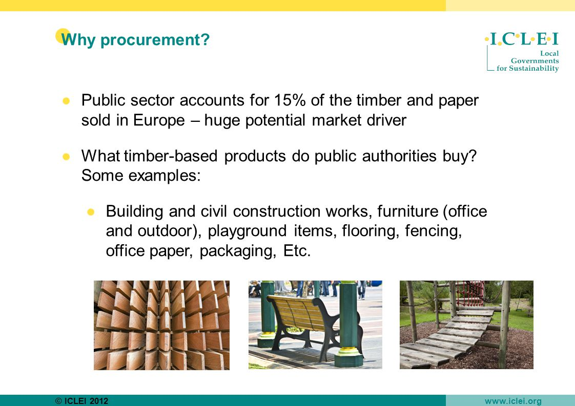 © ICLEI 2012 www.iclei.org Why procurement.