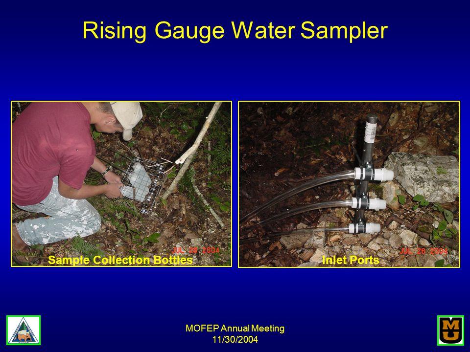 MOFEP Annual Meeting 11/30/2004 Rising Gauge Water Sampler Sample Collection BottlesInlet Ports