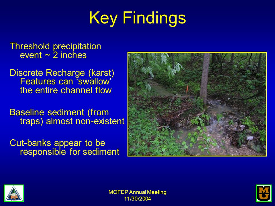MOFEP Annual Meeting 11/30/2004 Key Findings Threshold precipitation event ~ 2 inches Discrete Recharge (karst) Features can 'swallow' the entire channel flow Baseline sediment (from traps) almost non-existent Cut-banks appear to be responsible for sediment