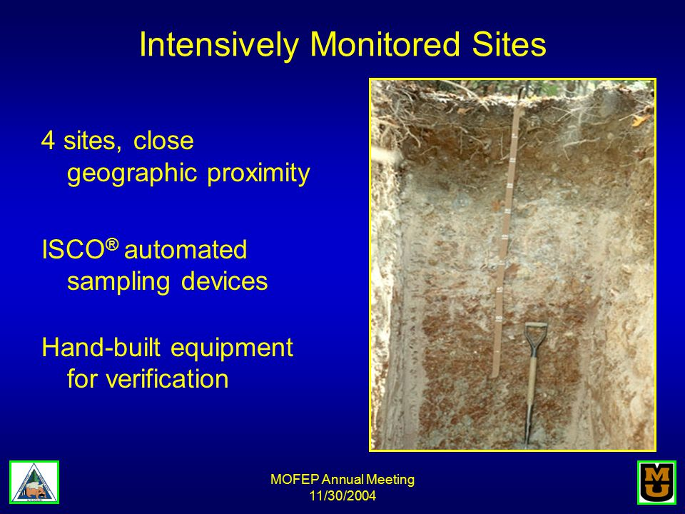 MOFEP Annual Meeting 11/30/2004 Intensively Monitored Sites 4 sites, close geographic proximity ISCO ® automated sampling devices Hand-built equipment for verification