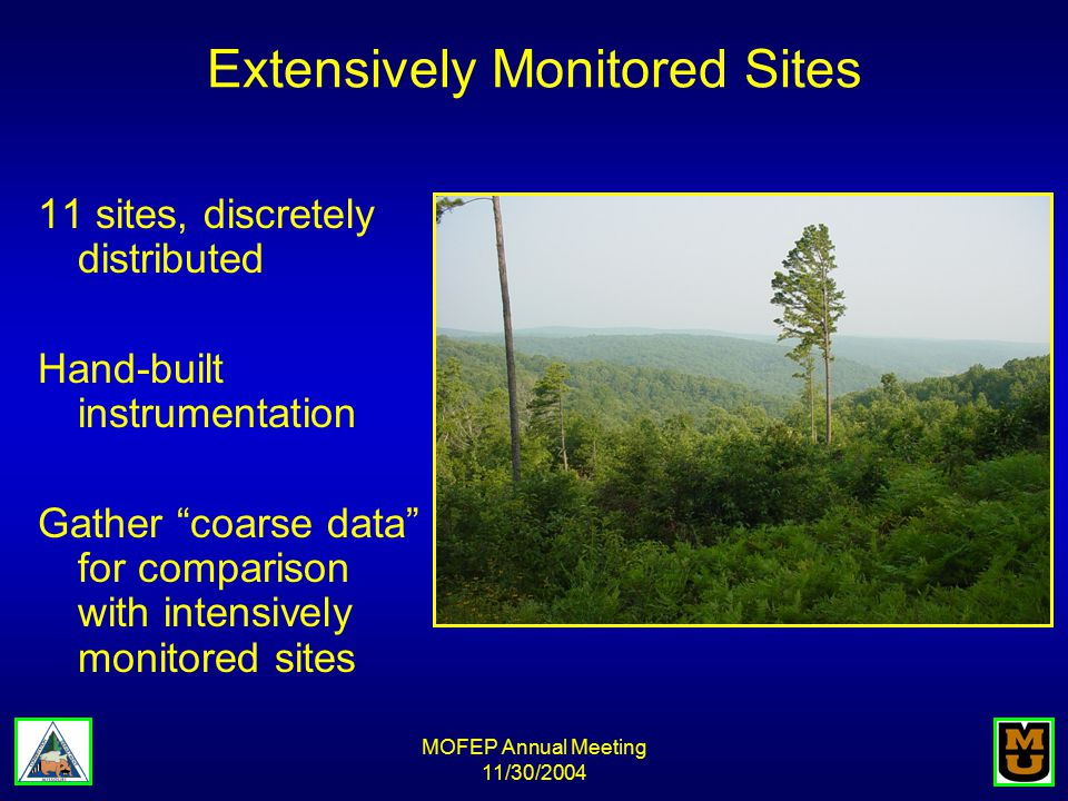 MOFEP Annual Meeting 11/30/2004 Extensively Monitored Sites 11 sites, discretely distributed Hand-built instrumentation Gather coarse data for comparison with intensively monitored sites