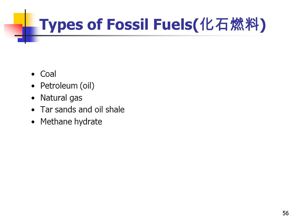 56 Coal Petroleum (oil) Natural gas Tar sands and oil shale Methane hydrate Types of Fossil Fuels( 化石燃料 )