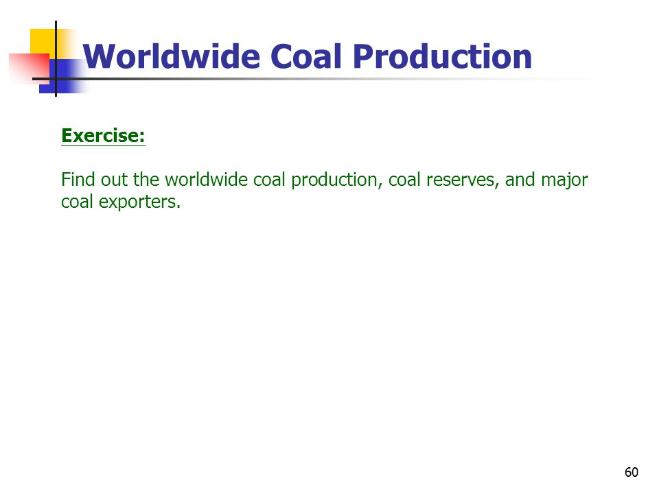 60 Worldwide Coal Production Exercise: Find out the worldwide coal production, coal reserves, and major coal exporters.