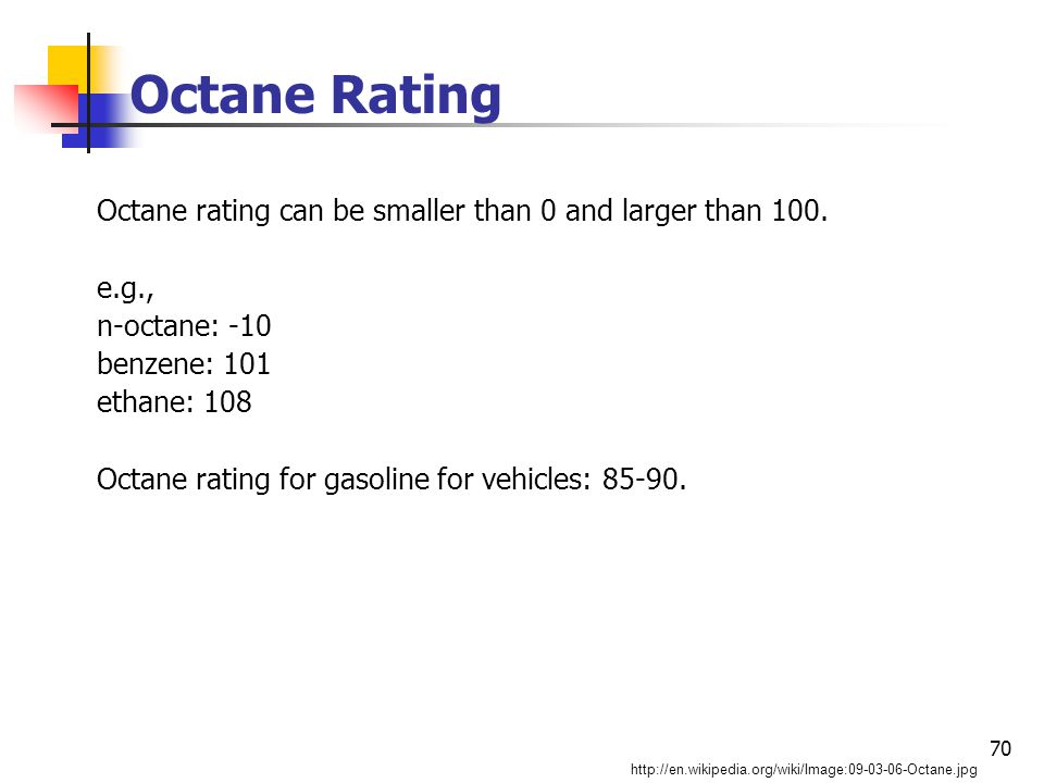 70 Octane Rating Octane rating can be smaller than 0 and larger than 100.