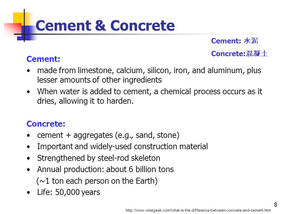 8 Cement & Concrete http://www.wisegeek.com/what-is-the-difference-between-concrete-and-cement.htm Cement: made from limestone, calcium, silicon, iron, and aluminum, plus lesser amounts of other ingredients When water is added to cement, a chemical process occurs as it dries, allowing it to harden.