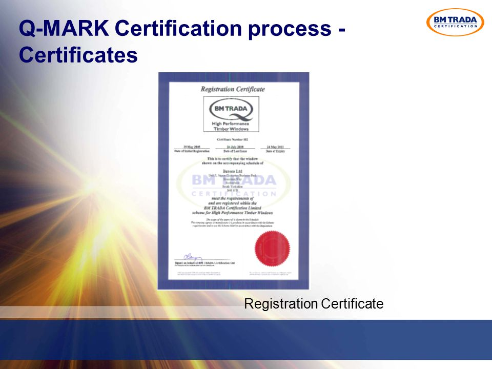 Q-MARK Certification process - Certificates Registration Certificate