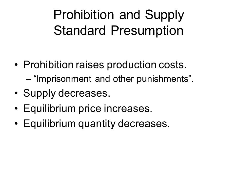 Prohibition and Supply Standard Presumption Prohibition raises production costs.