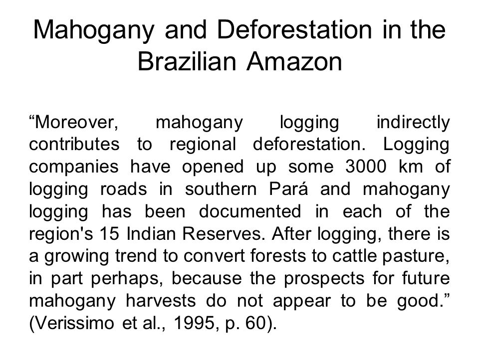 Mahogany and Deforestation in the Brazilian Amazon Moreover, mahogany logging indirectly contributes to regional deforestation.