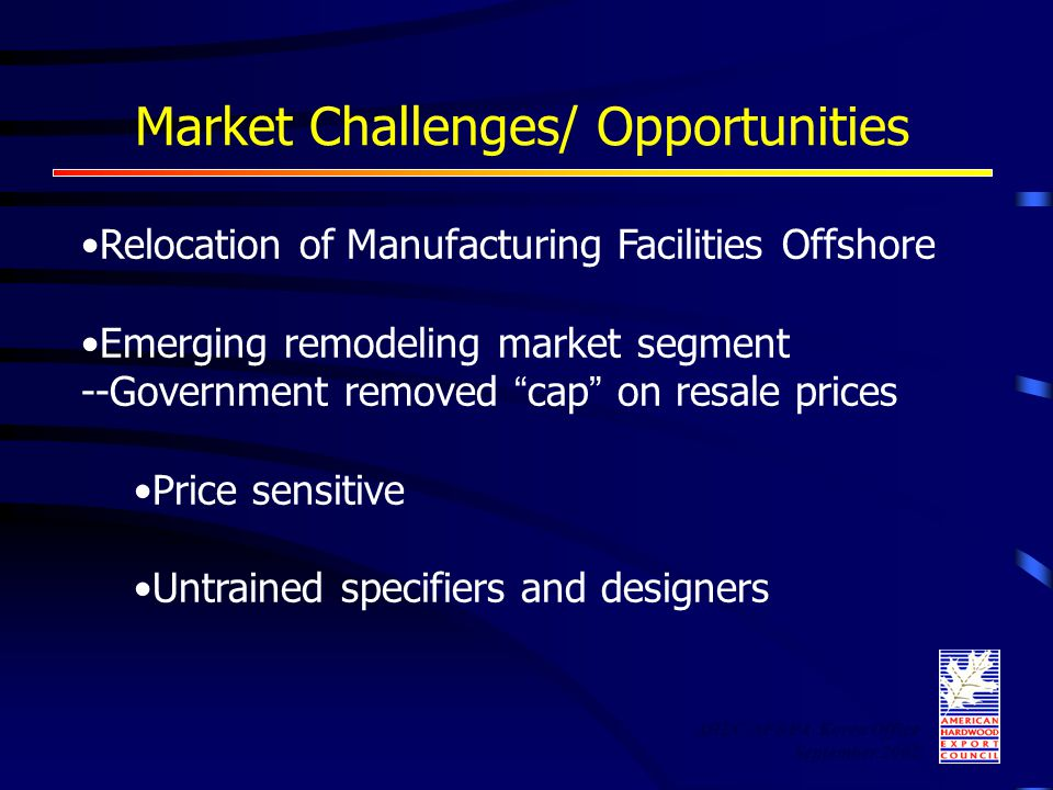 "Market Challenges/ Opportunities Relocation of Manufacturing Facilities Offshore Emerging remodeling market segment --Government removed "" cap "" on re"