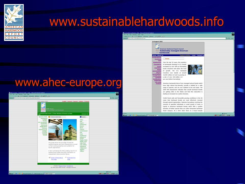 www.ahec-europe.org www.sustainablehardwoods.info