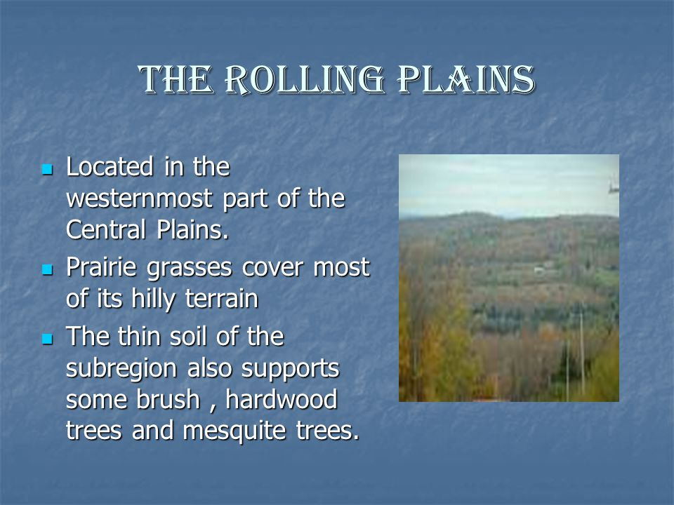 The Rolling Plains Located in the westernmost part of the Central Plains. Located in the westernmost part of the Central Plains. Prairie grasses cover