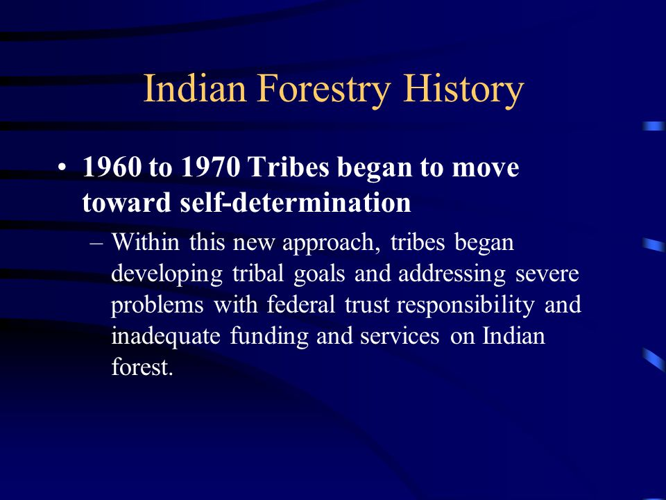 Indian Forestry History 1960 to 1970 Tribes began to move toward self-determination –Within this new approach, tribes began developing tribal goals and addressing severe problems with federal trust responsibility and inadequate funding and services on Indian forest.