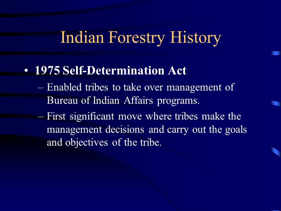 Indian Forestry History 1975 Self-Determination Act –Enabled tribes to take over management of Bureau of Indian Affairs programs.
