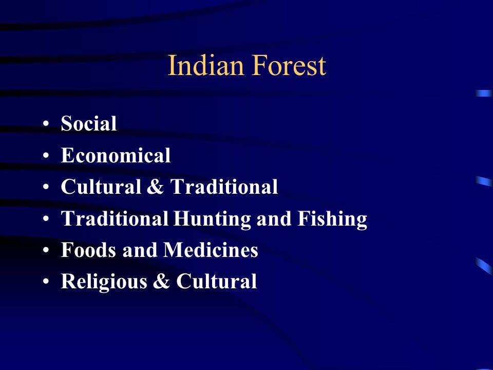 Indian Forest Social Economical Cultural & Traditional Traditional Hunting and Fishing Foods and Medicines Religious & Cultural