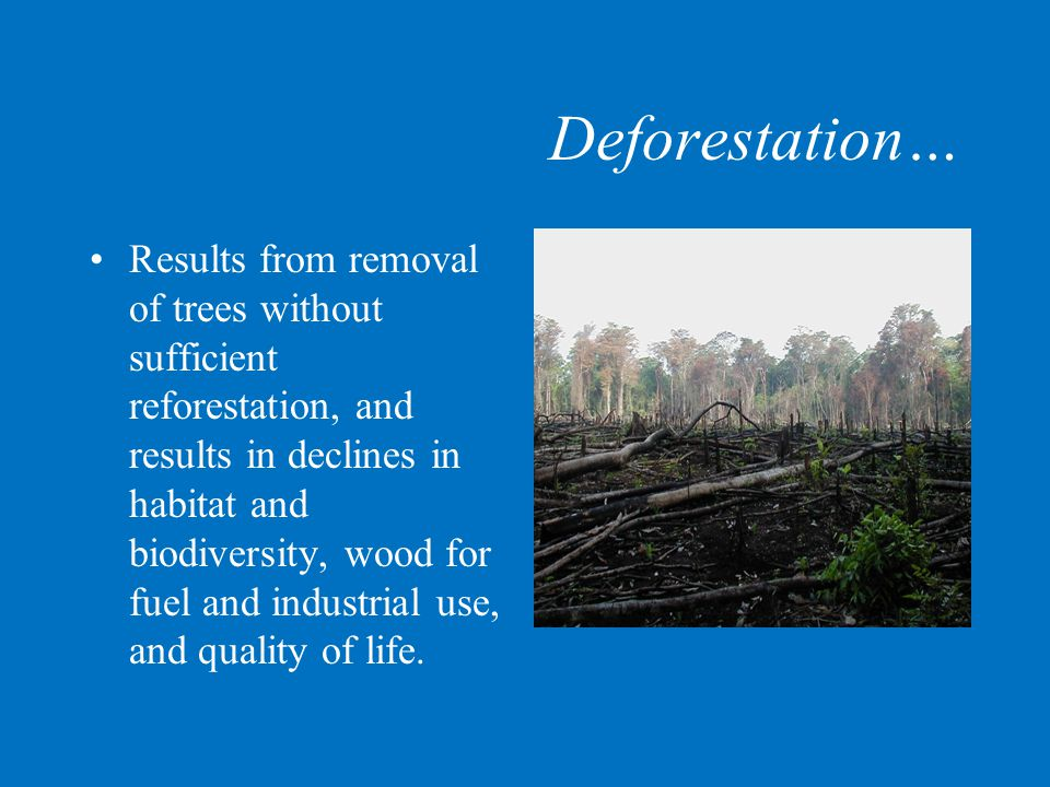 Deforestation… Results from removal of trees without sufficient reforestation, and results in declines in habitat and biodiversity, wood for fuel and industrial use, and quality of life.