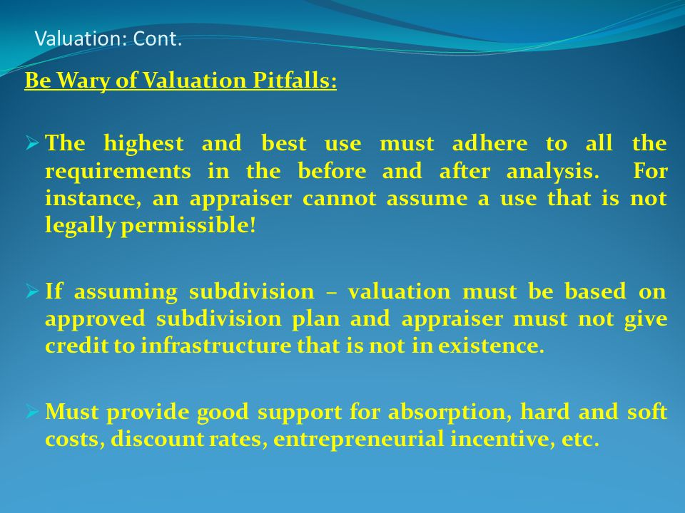 Valuation: Cont.